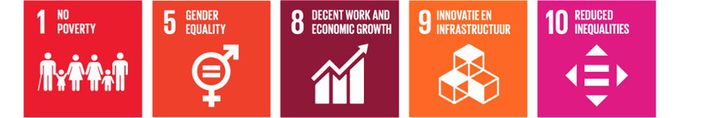 SDG's - Sustainable Development Goals 1, 5, 8, 9, 10